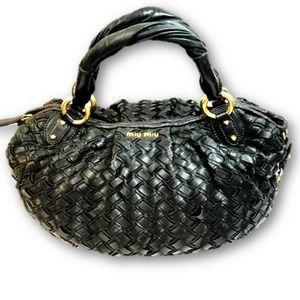 Miu Miu Black Leather Intreccio Woven Bag Tote
